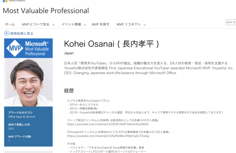 弊社代表取締役社長 長内がマイクロソフト社公認の Microsoft MVP Award(テクノロジーの専門家としての称号)を受賞しました
